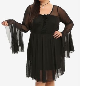 Black Bell Sleeve Lace-Up Dress